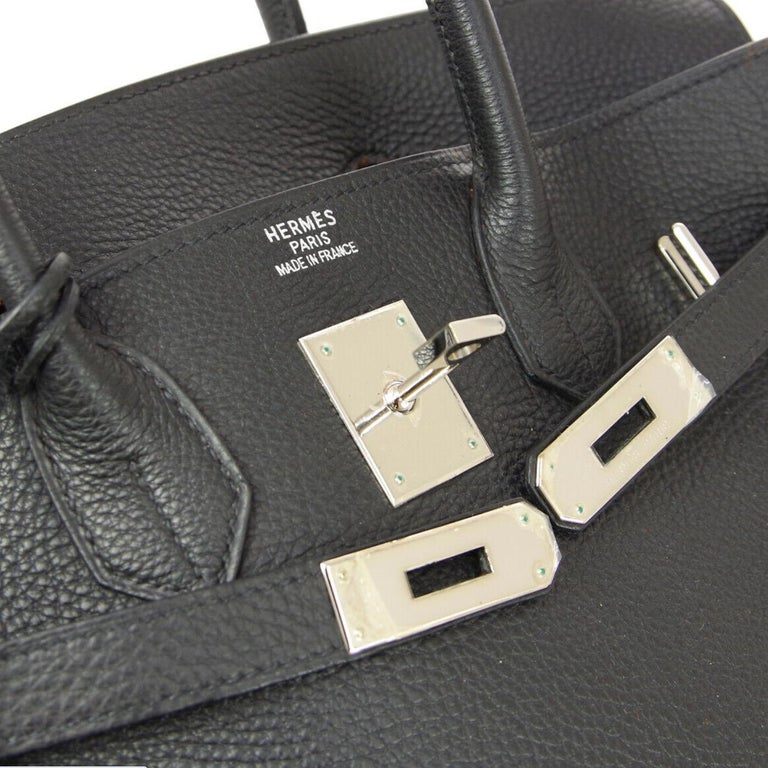 Leather Palladium hardware Leather lining Date code present Made in France Handle drop 3