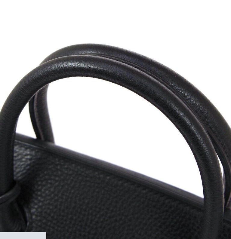 Hermes Birkin HAC 32 Black Leather Carryall Men's Travel Top Handle Tote Bag In Good Condition For Sale In Chicago, IL