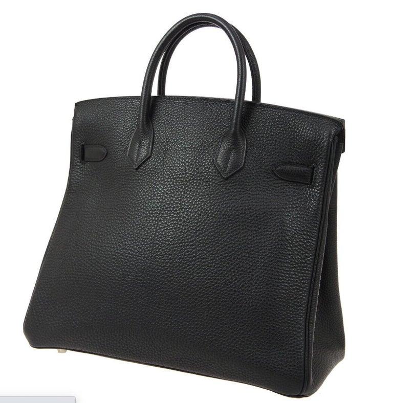 Women's Hermes Birkin HAC 32 Black Leather Carryall Men's Travel Top Handle Tote Bag For Sale