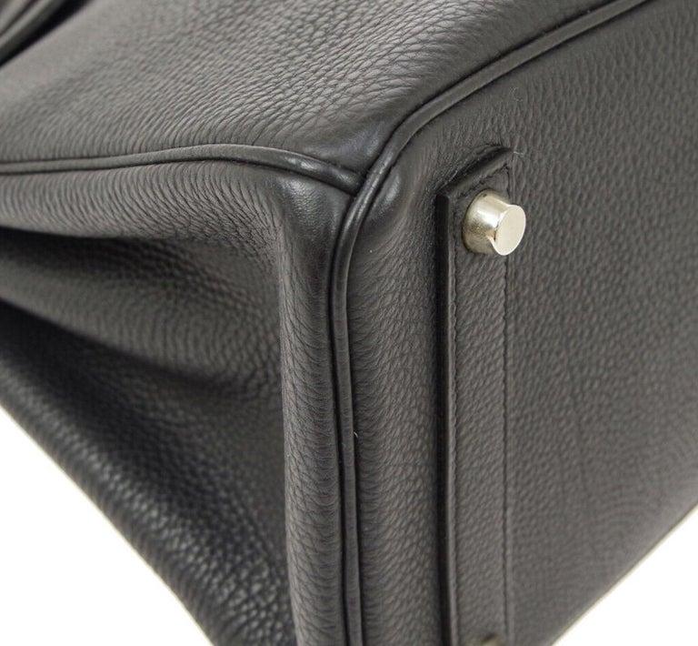 Hermes Birkin HAC 32 Black Leather Carryall Men's Travel Top Handle Tote Bag For Sale 2