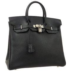 Hermes Birkin HAC 32 Black Leather Carryall Men's Travel Top Handle Tote Bag