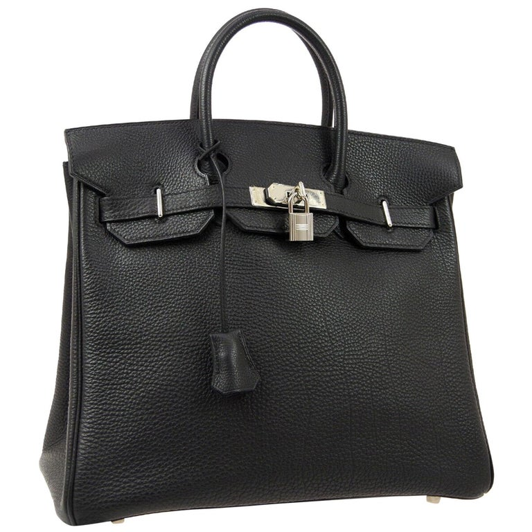 Hermes Birkin HAC 32 Black Leather Carryall Men's Travel Top Handle Tote Bag For Sale