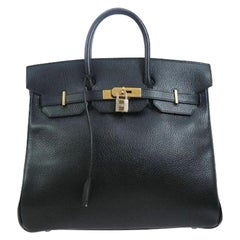 Hermes Birkin HAC 32 Black Leather Gold Large Men's Travel Top Handle Tote Bag