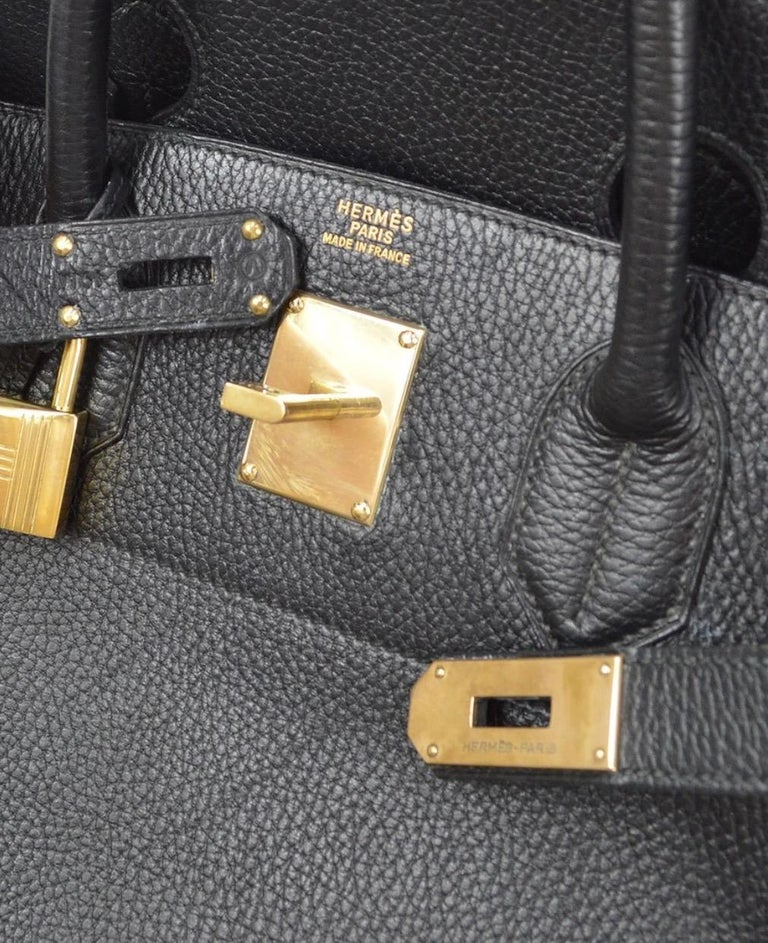 Hermes Birkin HAC 40 Black Leather Gold Women's Men's Travel Top Handle Tote Bag In Good Condition For Sale In Chicago, IL