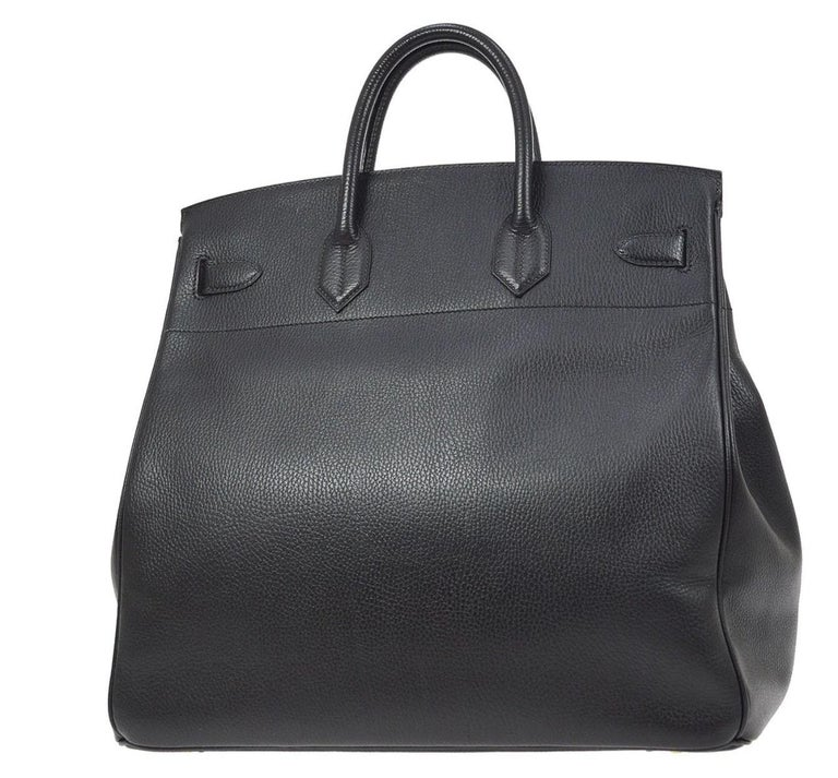 Hermes Birkin HAC 40 Black Leather Gold Women's Men's Travel Top Handle Tote Bag For Sale 1