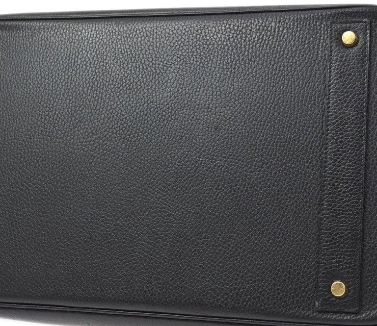 Hermes Birkin HAC 40 Black Leather Gold Women's Men's Travel Top Handle Tote Bag For Sale 2