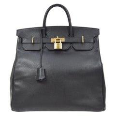 Hermes Birkin HAC 40 Black Leather Gold Women's Men's Travel Top Handle Tote Bag