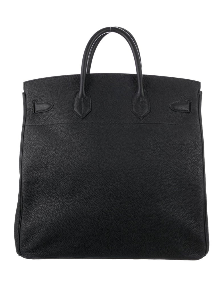 Hermes Birkin HAC 40 Black Leather Palladium Men's Travel Top Handle Tote Bag In Good Condition For Sale In Chicago, IL