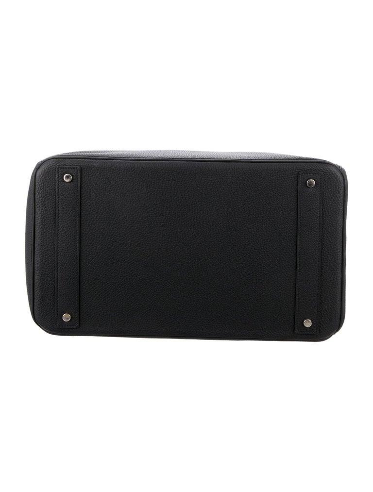 Women's Hermes Birkin HAC 40 Black Leather Palladium Men's Travel Top Handle Tote Bag For Sale