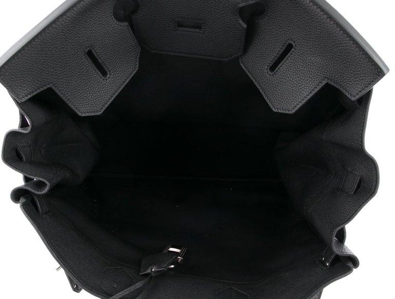 Hermes Birkin HAC 40 Black Leather Palladium Men's Travel Top Handle Tote Bag For Sale 1