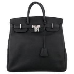 Hermes Birkin HAC 40 Black Leather Palladium Men's Travel Top Handle Tote Bag