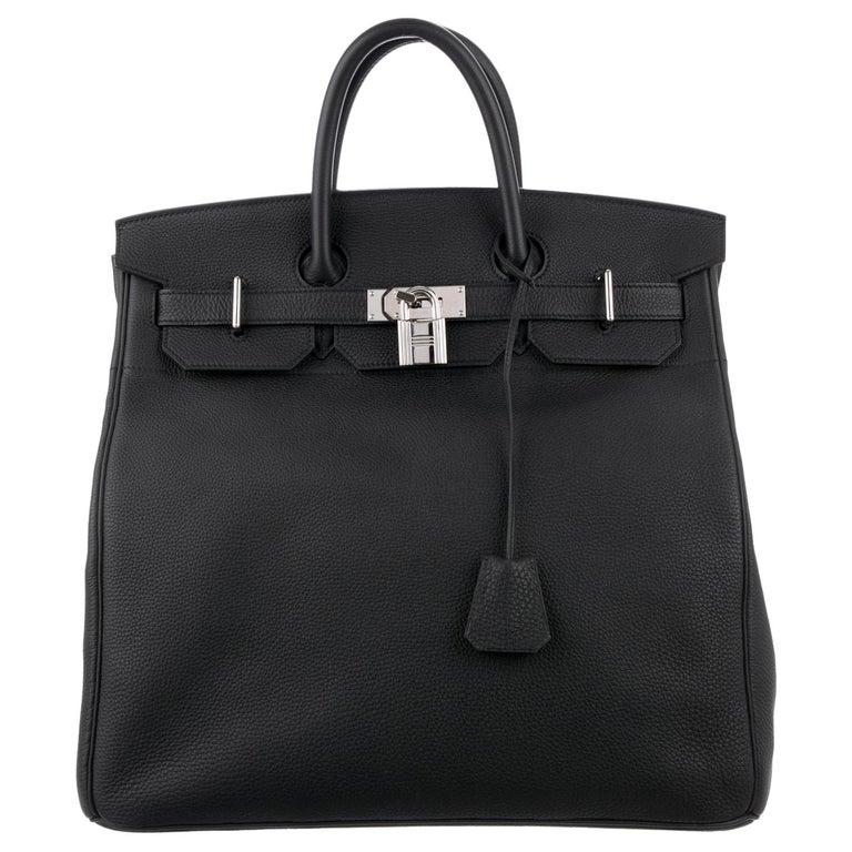 Hermes Birkin HAC 40 Black Leather Palladium Men's Travel Top Handle Tote Bag For Sale