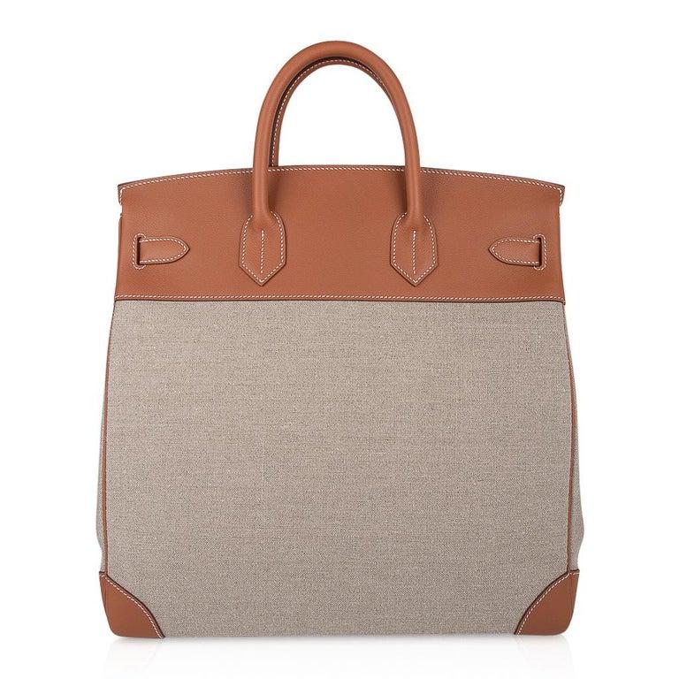 Hermes Birkin Hac 40 Gold Evercolor / Ficelle Toile Bag Palladium Hardware New For Sale 5