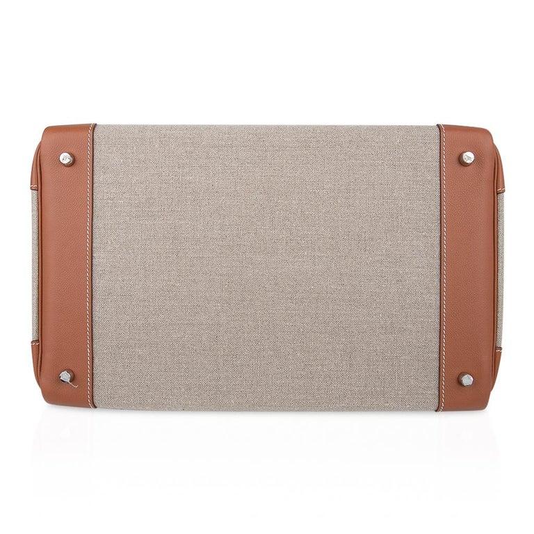 Hermes Birkin Hac 40 Gold Evercolor / Ficelle Toile Bag Palladium Hardware New For Sale 6