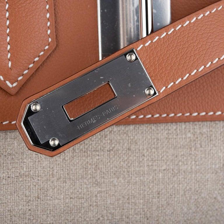 Brown Hermes Birkin Hac 40 Gold Evercolor / Ficelle Toile Bag Palladium Hardware New For Sale