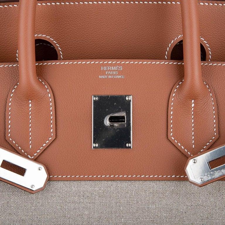 Hermes Birkin Hac 40 Gold Evercolor / Ficelle Toile Bag Palladium Hardware New In New Condition For Sale In Miami, FL