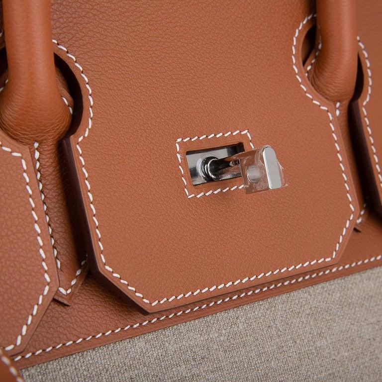 Men's Hermes Birkin Hac 40 Gold Evercolor / Ficelle Toile Bag Palladium Hardware New For Sale