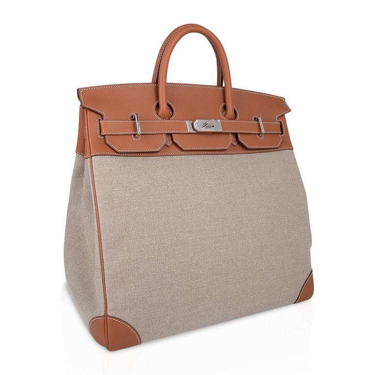 Hermes Birkin Hac 40 Gold Evercolor / Ficelle Toile Bag Palladium Hardware New For Sale 1