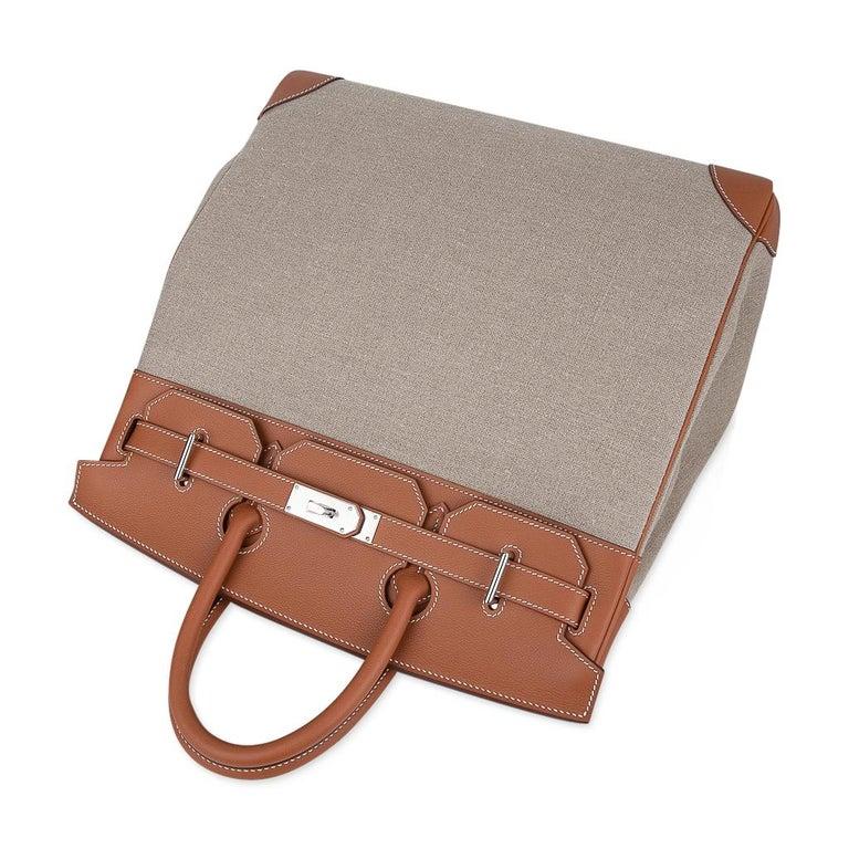 Hermes Birkin Hac 40 Gold Evercolor / Ficelle Toile Bag Palladium Hardware New For Sale 2