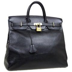 Hermes Birkin HAC 45 Black Leather Gold Large Men's Travel Top Handle Tote Bag