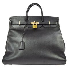Hermes Birkin HAC 45 Black Leather Gold Large Men's Travel Top Handle Tote Bag