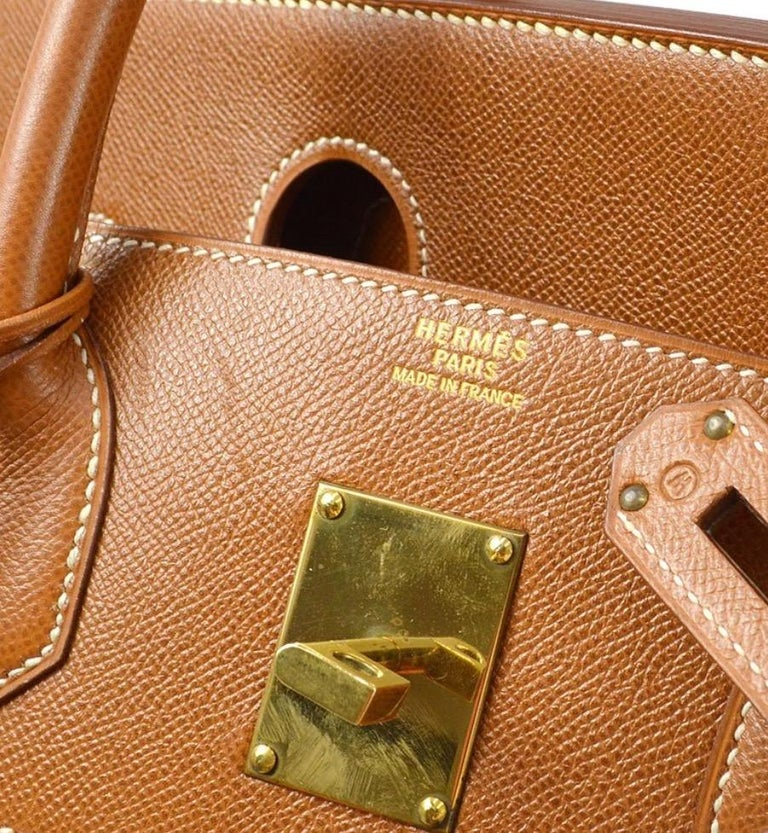 Hermes Birkin HAC 45 Cognac Leather Gold Large Men's Travel Top Handle Tote Bag In Good Condition For Sale In Chicago, IL