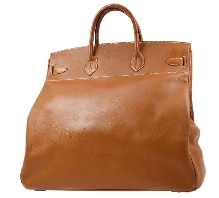 Women's Hermes Birkin HAC 45 Cognac Leather Gold Large Men's Travel Top Handle Tote Bag For Sale