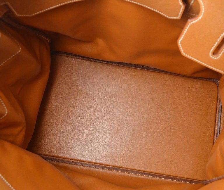 Hermes Birkin HAC 45 Cognac Leather Gold Large Men's Travel Top Handle Tote Bag For Sale 2