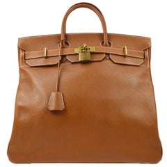 Hermes Birkin HAC 45 Cognac Leather Gold Large Men's Travel Top Handle Tote Bag