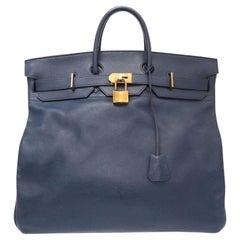 Hermes Birkin HAC 50 Blue Leather Gold Large Men's Travel Top Handle Tote Bag