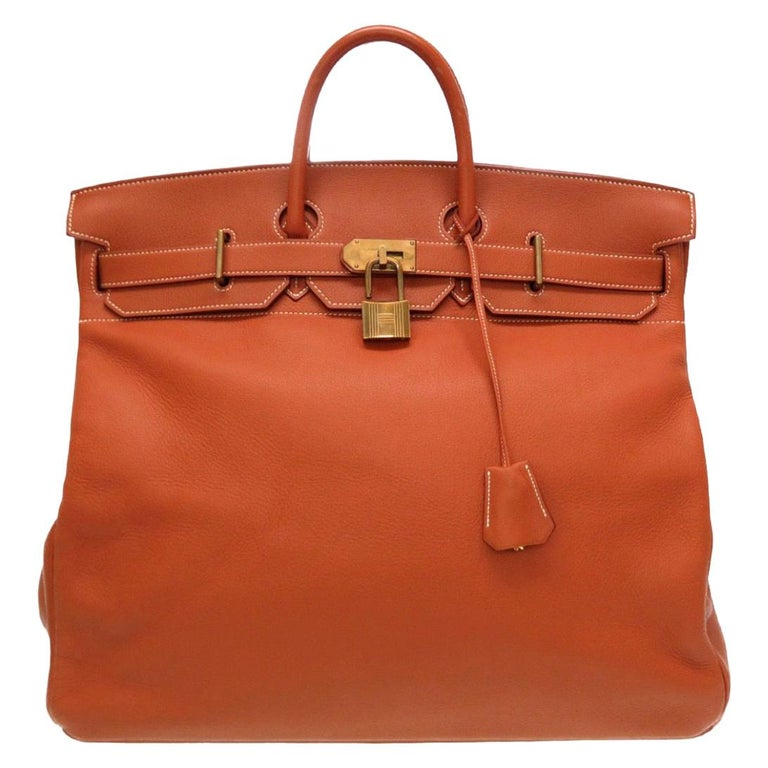 Hermes Birkin HAC 50 Leather Gold Large Men's Travel Top Handle Tote Bag For Sale