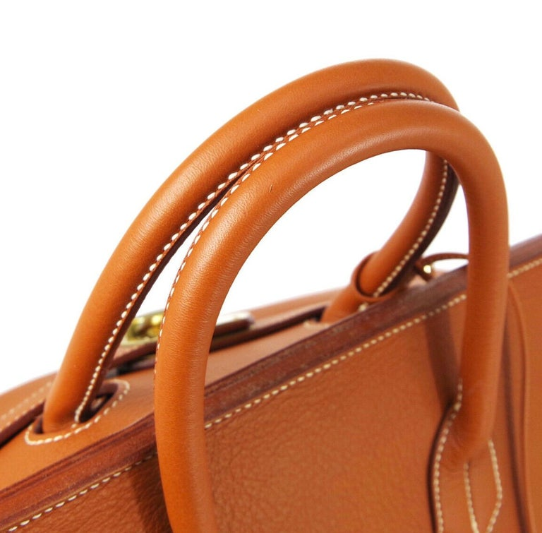Hermes Birkin HAC 55 Cognac Leather Gold Large Men's Travel Top Handle Tote Bag In Good Condition For Sale In Chicago, IL