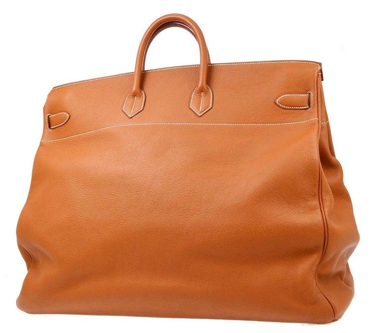 Women's Hermes Birkin HAC 55 Cognac Leather Gold Large Men's Travel Top Handle Tote Bag For Sale