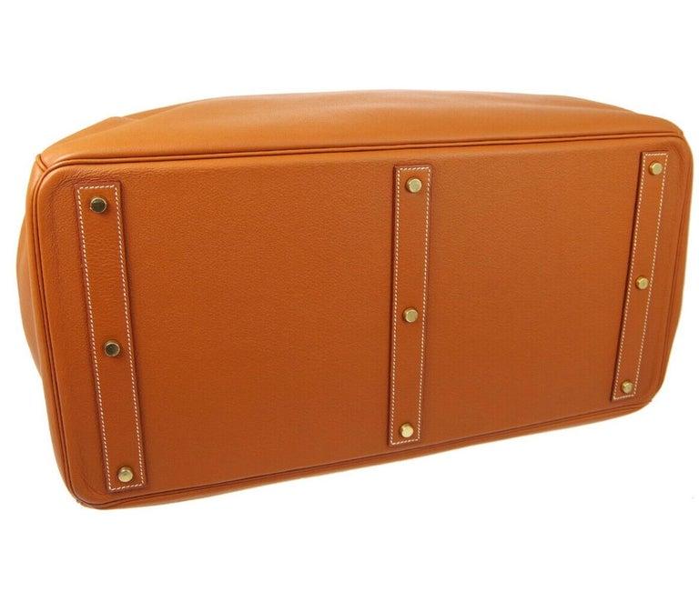 Hermes Birkin HAC 55 Cognac Leather Gold Large Men's Travel Top Handle Tote Bag For Sale 1