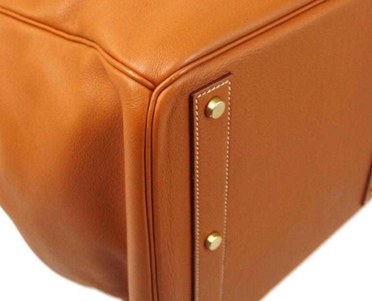 Hermes Birkin HAC 55 Cognac Leather Gold Large Men's Travel Top Handle Tote Bag For Sale 2