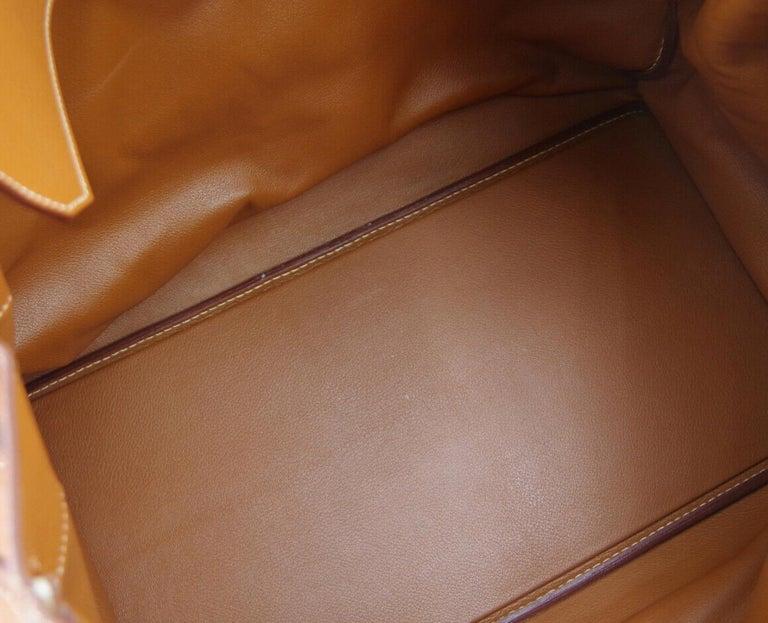 Hermes Birkin HAC 55 Cognac Leather Gold Large Men's Travel Top Handle Tote Bag For Sale 3