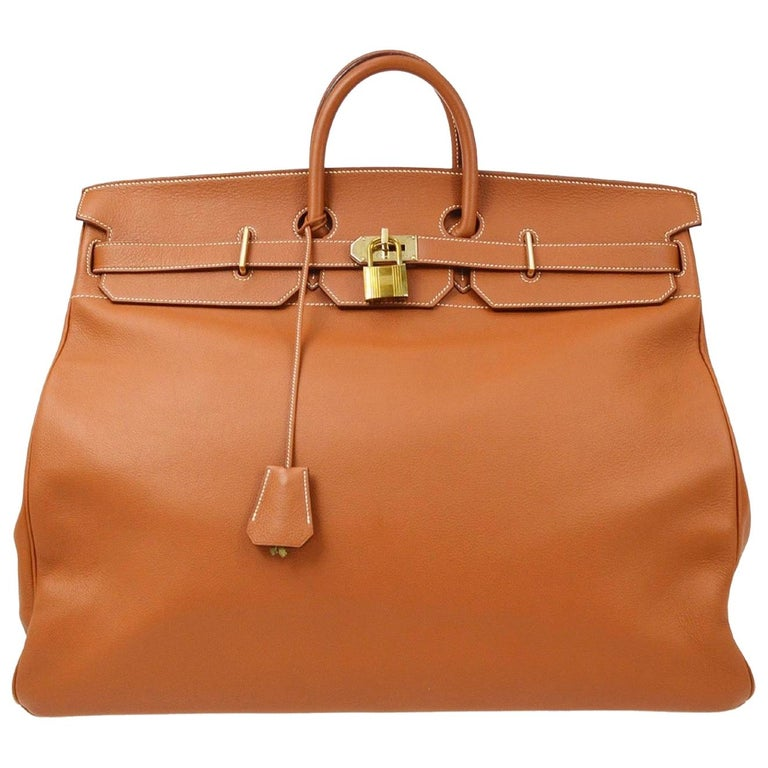 Hermes Birkin HAC 55 Cognac Leather Gold Large Men's Travel Top Handle Tote Bag For Sale