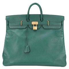 Hermes Birkin HAC 55 Green Leather Gold Large Men's Travel Top Handle Tote Bag
