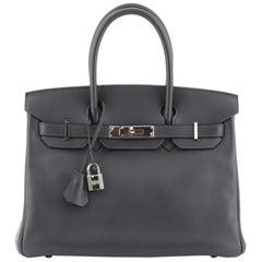 Hermes Birkin Handbag Ardoise Swift with Palladium Hardware 30