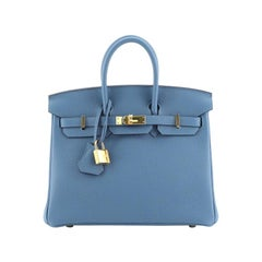 Hermes Birkin Handbag Azur Togo with Gold Hardware 25