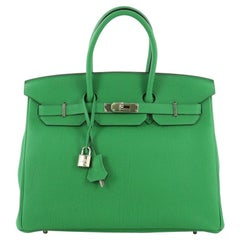 Hermes Birkin Handbag Bamboo Togo with Palladium Hardware 35