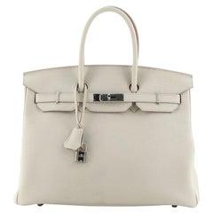Hermes Birkin Handbag Beton Togo with Palladium Hardware 35