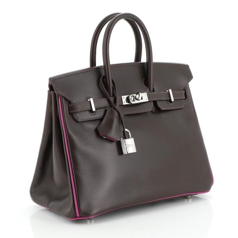 Hermes Birkin Handbag Bicolor Box Calf with Palladium Hardware 25 In Good Condition For Sale In New York, NY