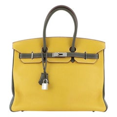 Hermes Birkin Handbag Bicolor Clemence With Palladium Hardware 35