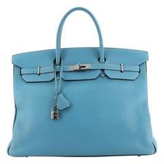 Hermes Birkin Handbag Bicolor Clemence with Palladium Hardware 40