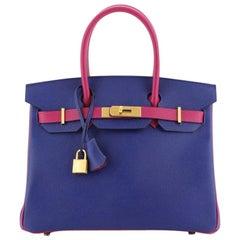 Hermes Birkin Handbag Bicolor Epsom with Gold Hardware 30