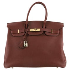 Hermes Birkin Handbag Bicolor Togo with Gold Hardware 35