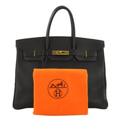 Hermes Birkin Handbag Black Fjord with Gold Hardware 35