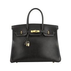Hermes Birkin Handbag Black Gulliver With Gold Hardware 35