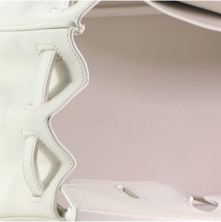 Hermes Birkin Handbag Blanc Swift with Palladium Hardware 25 For Sale 7
